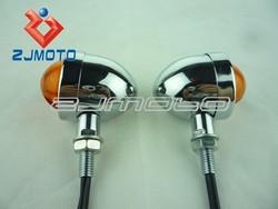 2 pcs CHROME AMBER BULLET Turn Signal Lights Blinkers for Vulcan VN 500 750 800 900 1600 bobber Softail Dyna Sportster