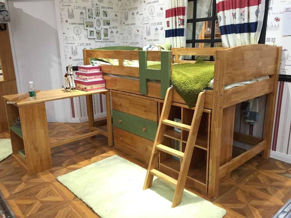 Bambini in legno massello letto a castello con scrivania camera da ...