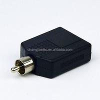 RCA male plug to dual 6.35mm female audio jack adaptor