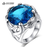 Latest Spikes Stainless Steel Dragon Claw Ring with Blue Stone Wholesale