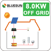 Bluesun panel factory direct complete set supply easy installation pv power system off grid solar system 8kw