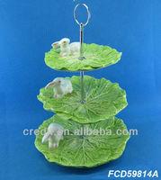 Latest handmade rabbit & vegetable design ceramic 3 tier plate