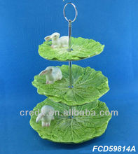 Latest handmade rabbit & vegetable design ceramic 3 tier plate