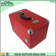 Red PVC leather cosmetic makeup case