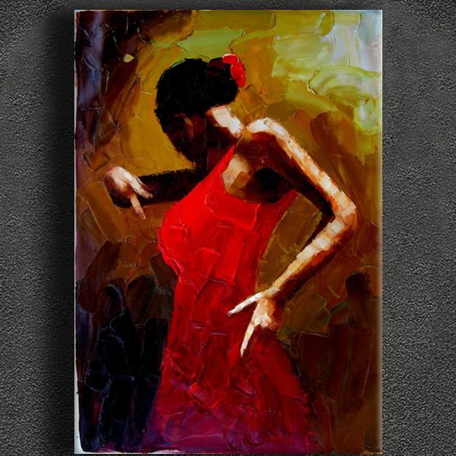 Esp tula pintura al leo mujer bailando aceite espeso - Pintura al aceite ...