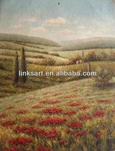New England landscape oil painting of fields and trees