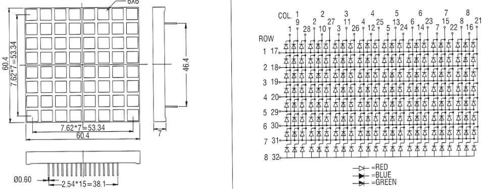 5 mm rgb 8x8 dot matrix led display 60 60 square pixel led