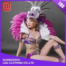 Cheap handmade purple feather rhinestone decorated funny carnival adult costume