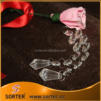 14mm octagon beads chain Crystal diamond hanging prism for wedding party X-max tree decoration