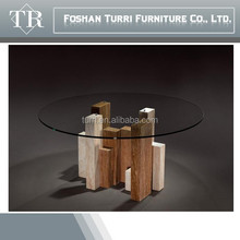 modern luxury furniture round glass top stone base dining table