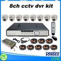 Factory big sale 8 Channel DVR with 8 indoor dome cmos 800tvl h.264 4ch dvr combo cctv camera kit