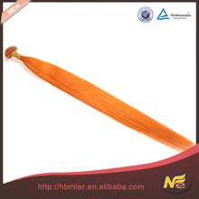 wholesale brazilian human no tangle no shedding orange u-tip hair extension colored orange hair extension,