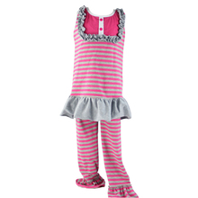 High quality 2016 baby clothes children frock kids kurtis for girls spring outfit striped valentines day gifts set knit fabric