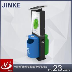 JINKE Advertising Solar Energy Roadside Dustbin and Slim Light Box