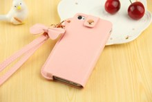 Cute phone case with strap OEM design pu leather or leather phone case for iphone