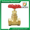 factory price solid wedge forged type laiton cw617 symbol sizes 3/4 6 inch Brass gate valve with red iron wheel handle