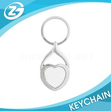 China Factory New Arrival Custom Promotional Blank Heart Shape Metal Keychain