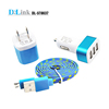 Universal 3-Port USB Car Charger Wall Travel Home Charger to AC Power Adapter Travel Kit
