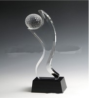 Sport Souvenirs Unique Crystal Golf Trophy With Black Base