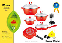 new design with top quality die casting aluminum 21pcs ceramic cookware/nonstick kitchen ware/induction kitchenware