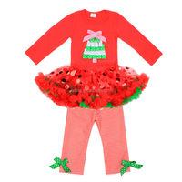Adorable wholesale children's boutique clothes dot pettiskirt tutu dress stripe pants christmas clothing sets girls fall outfits