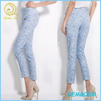 OEM service New Arrival Summer side pockets ladies pencil pants floral printed long trousers for ladies