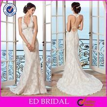 CE659 2015 Sexy Deep V-Neck Open Back Halter Lace Bodice Designer Wedding Dresses Online