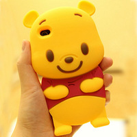 Newest 3D cartoon animal winnie bear soft silicone case cover For Apple Iphone 4 5 6 6Plus For Samsung S3 S4 S5