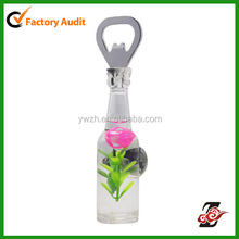 Plastic Rose Flower Bottle Opener With Magnet