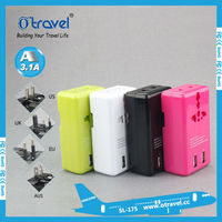 Female gift item customized functional colorful gift items universal travel adapter multinational adapter with USB