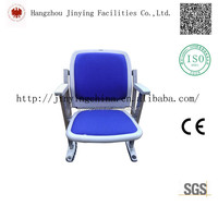 Comfortable folding floor mounted plastic Stadium chair with Armrest with Fabric Cushion