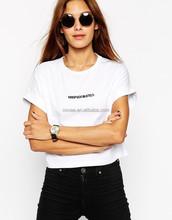 Women Short Sleeve Organic Cotton T Shirt Custom Printing Crop Tee Tops Cheap Wholesale Clothing