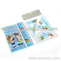 Plastic cartoon ruler set with PVC bag packing