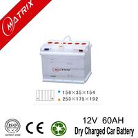 Matrix Brand dry charge 12v 60ah deep cycle lead acid batteries DIN: European Standard