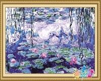 40*50cm lotus pond oil painting, lotus flower painting oil