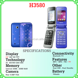 new arrival 2.4'' screen dual sim quad band mp3 player phone cell H3580 on ebay china website
