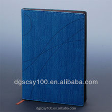 "8.5"" loose leaf PU blue diary book with book mark ribbon"