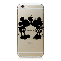 Super Cute Phone Cases for Apple iPhone 4 4S 5 5S 5c 6 6 plus Case Cover Luxury PC Clear Black Mickey&Minnie Kiss