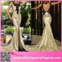 indian Gold Sequin Split Front Mermaid Prom Dress dresses for women elegant sexy