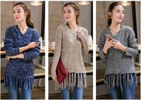 2015 autumn hem tassel sweater of European and American fashion of new fund