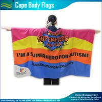 100% Polyester Waterproof Cape Flags, Body Flags With Custom Design