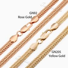 Trendsmax 6mm Mans Womens Chain Hammered Snake Bone Rose Gold Filled Necklace