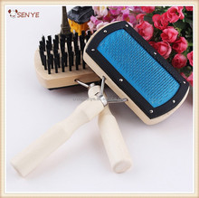 Pet Grooming Comb,dog hair brush,double sided factory wholesale dog bath brush with wooden handle