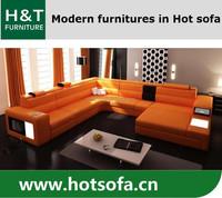 Living room furniture orange leather sofa, turkish furniture living room sofa, cross sofa furniture with LED