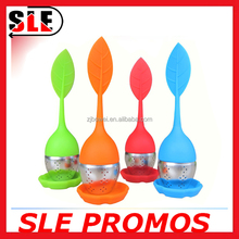 2015 new product stock wholesale eco-friendly durable colorful leaf silicone&stainless steel tea infuser strainer tea ball