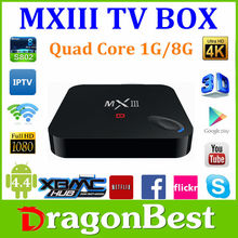 MXIII S802 Android 4.4 Amlogic Quad Core 2.0GHz 4K Video 1G 8G Android TV BOX Drangonbest media player MX3