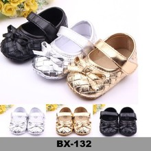 gold and silver color baby shoes with bow New Style First Walker Shoes