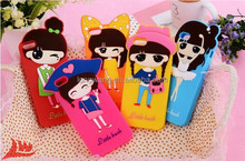 Cute Cartoon Silicone Cover 3D Little Bush Girls ballet Bowknot pirate hat Soft Skin Case For Iphone5 5S 5G
