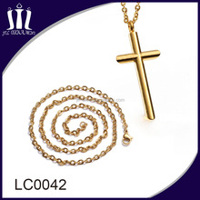 vacuum plated 18K gold stainless steel men cross necklace