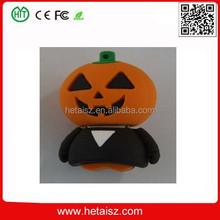 gift pvc halloween pumpkin shape usb stick, halloween pumpkin usb 2 tb, pvc pumpkin usb flash drive no minimum order